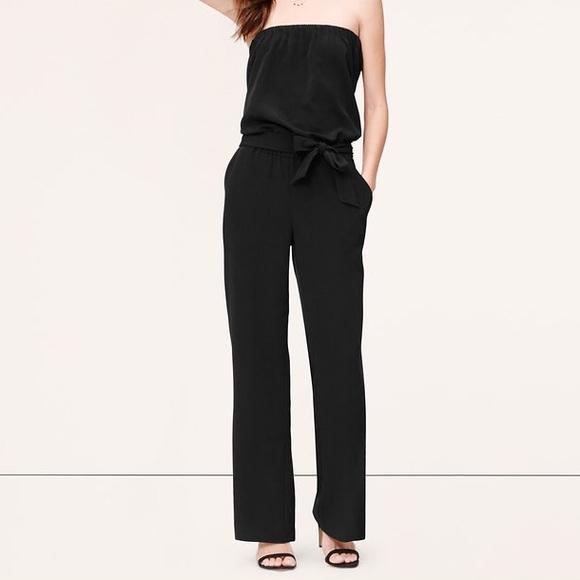 fe6cf969511 LOFT Pants - LOFT Black Strapless Jumpsuit Romper Large L Bow