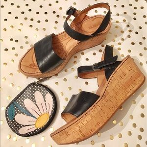 BORN Leather & Cork Wedge Sandals
