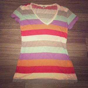 Splendid old school striped V-neck T