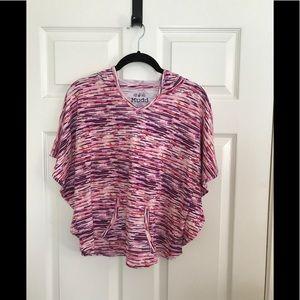 Striped pancho hoodie