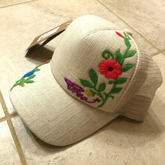 726ab177 Prana Accessories | Nwt Floral Embroidered Hat On Cream Linen | Poshmark