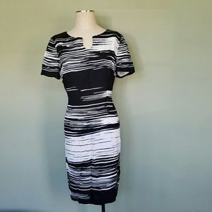 Maggy London Black and White Sheath Dress
