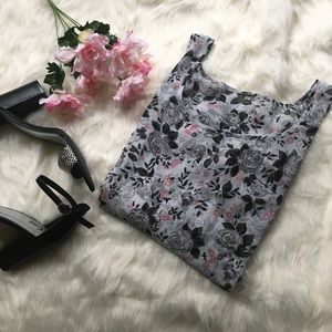 Tops - Chiffon high-low floral tank top