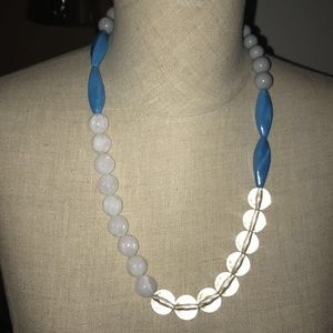 Jewelry - Crystal clear white turquoise and gray necklace
