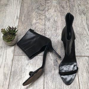  Jil Sander black leather heels wide ankle strap