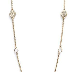 New Kate Spade North Court Pavé Disc Necklace