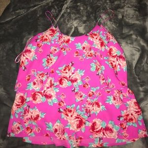 A bright pink flower tank top