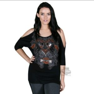 Harley Davidson cold shoulder top