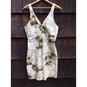 Vintage Hawaiian Floral Mini Summer Sun Dress
