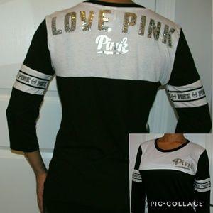 Victoria's Secret PINK Bling Football Tee Shirt