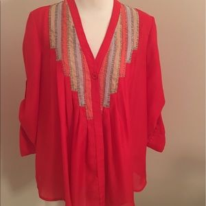 Ark & Co Red Silk blouse