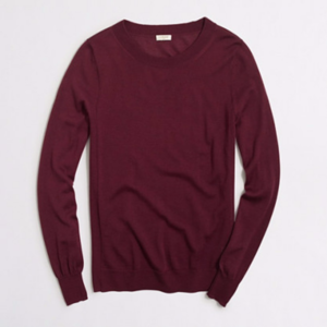 J.CREW Burgundy Sawyer Crewneck Sweater