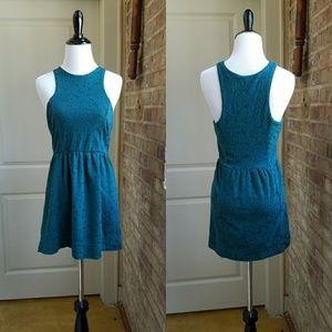 Free People Teal Textured Mini Dress, XS