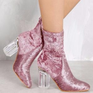 BNWB CAPE ROBBIN Velvet Pink/Mauve Ankle Boots 6