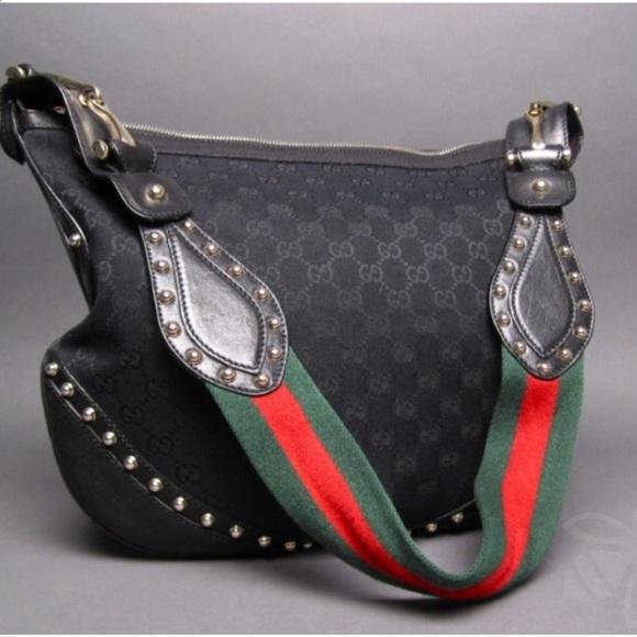 beebd401af820a Gucci Bags | Black Canvas Gg Pelham Studded Messenger | Poshmark