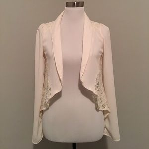 Potters Pot lace & silky polyester open cardigan