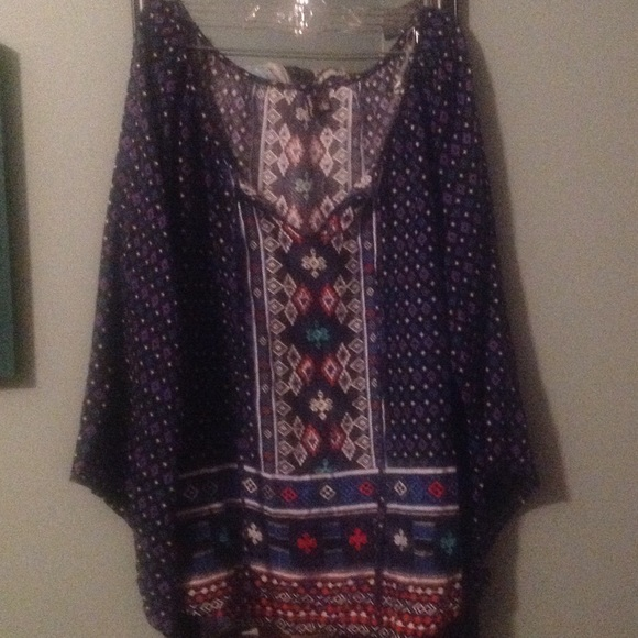 Blue, white, and red light weight blouse