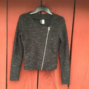 Divided H&M Moto Jacket Black Sparkle Sz Small