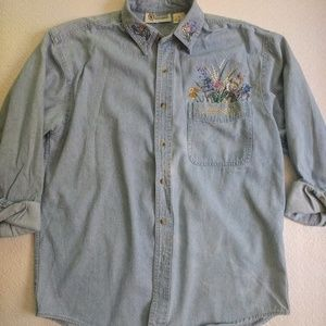 Vintage Oversized Bedazzled Denim Shirt