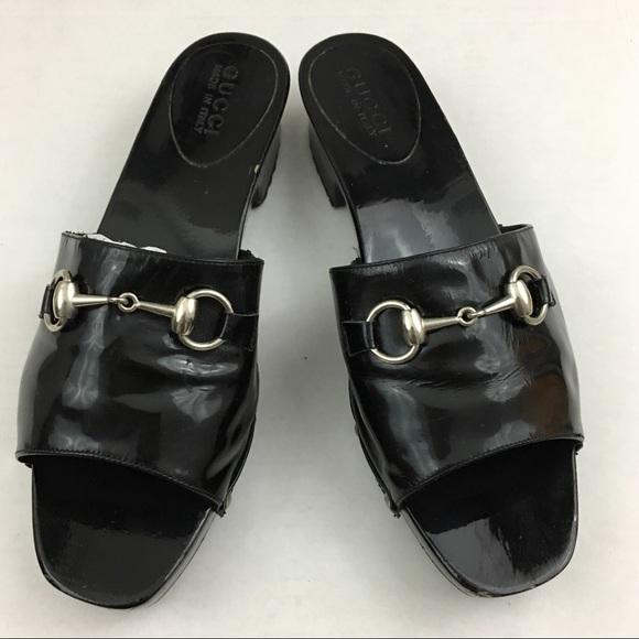 f502be3aa057 Gucci Shoes - Gucci Horsebit Patent Leather Wooden Clog Sandal 9