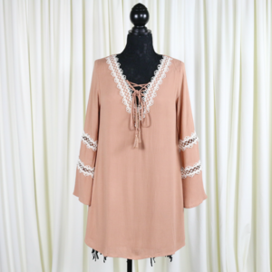 Halle Crochet Lace Up Tunic