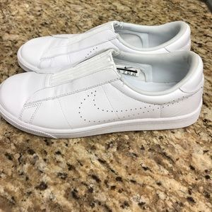 Nike Leather Perforated Slip On Sneakers - white