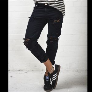 One Teaspoon distressed cropped denim jeans