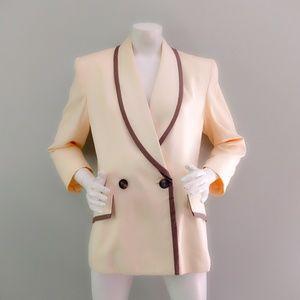 VTG 80s Christian Dior Cream Gray Piped Blazer M L