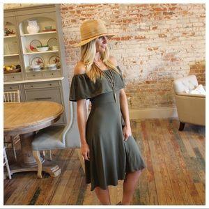 Olive off shoulder brushed knit dress