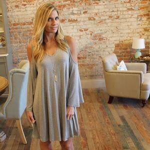 Gray bell sleeve cold shoulder dress