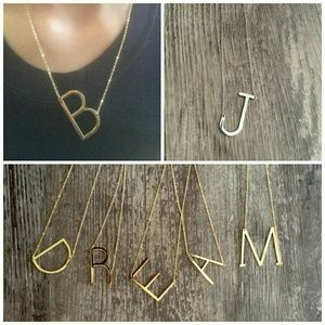 Jewelry - Large Sideways Initial Necklace; gold silver rose