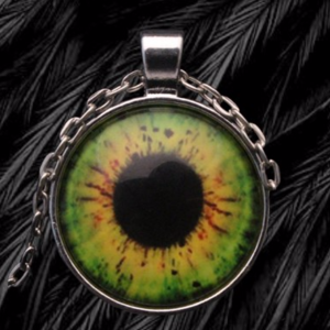 Jewelry - Eye Cabochon Pendant Necklace in Silver Tone