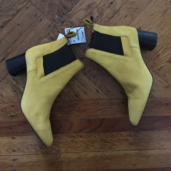 998ea8100 Zara Shoes | Mustard Yellow Suede Ankle Boots Size 37 | Poshmark