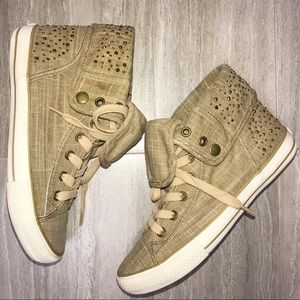 Aldo Burlap Gold Studded Hightops