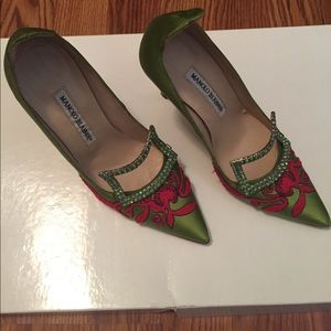 Green and red patterned Manolo Blahnik heels