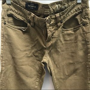 J. Crew Toothpick Ankle Jeans In Army Green