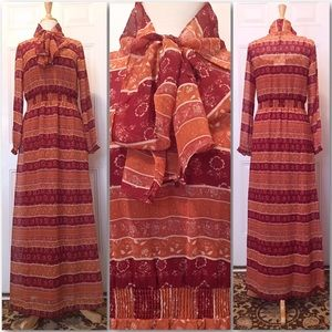 Chiffon Sheer Red Burnt Orange Pattern Maxi Dress