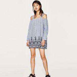 New Zara striped embroidered dress size small