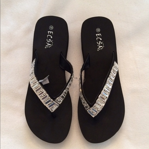 Ecsa Shoes Black Flip Flops Poshmark