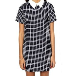 ASOS Glamorous Grid Contrast Collared Dress