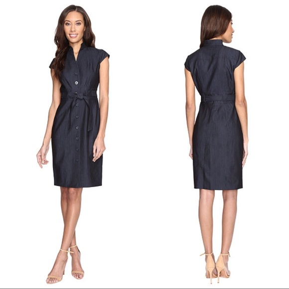Calvin Klein Dresses & Skirts - New! Calvin Klein Denim Belted Shirt Dress 6