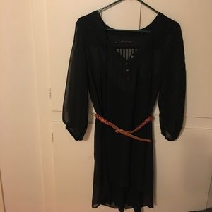 Patterson J Kincaid Black dress with brown belt