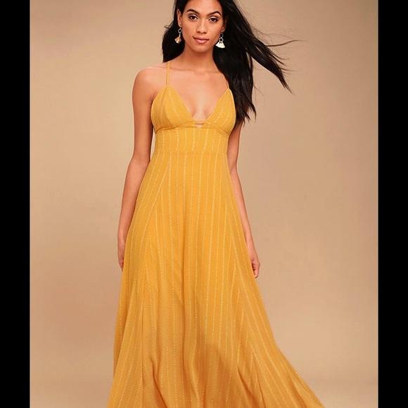 b319087eb41a2 Lulu's mustard yellow maxi dress, free people
