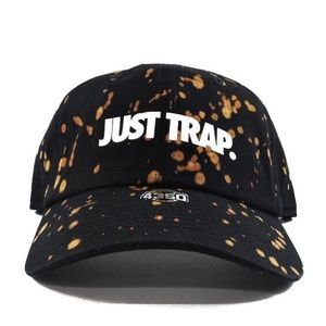 Bleached Just Trap Dad Cap - Black
