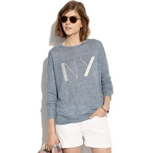 🍋 • madewell • light blue 'NY' linen shirt