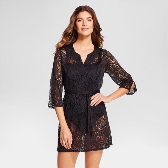 Merona Swim Black Crochet Lace Beach Cover Up Dress S Poshmark