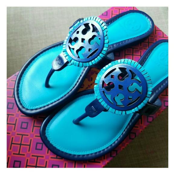 846e0d8200c7 Tory Burch Miller Fringe Sandals Logo Slides