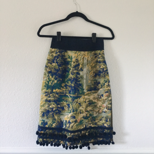 ANTHROPOLOGIE Blue and Green Abstract PencilSkirt