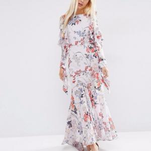 💕Cold Shoulder Long Sleeve Ruffle Maxi Dress