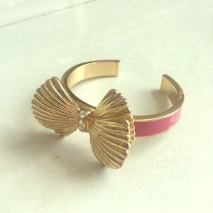 Lilly Pulitzer gold and pink bow bangle w/ rhinest